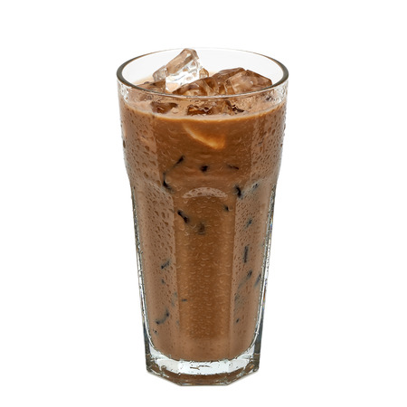Iced coffee in glass with cream isolated on white background Imagens