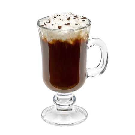 single whip: Irish coffee isolated on white background