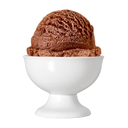 ice cream scoop: Scoop of chocolate ice cream in bowl on white background