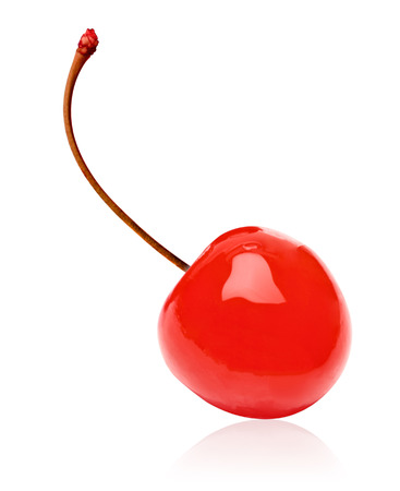 maraschino: Maraschino cherry on white background
