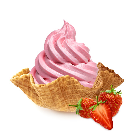 soft object: Strawberry ice cream in wafer bowl on white background