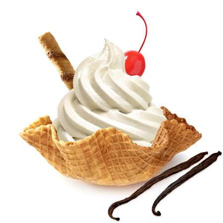 single whip: Vanilla ice cream in waffle bowl on white background Stock Photo
