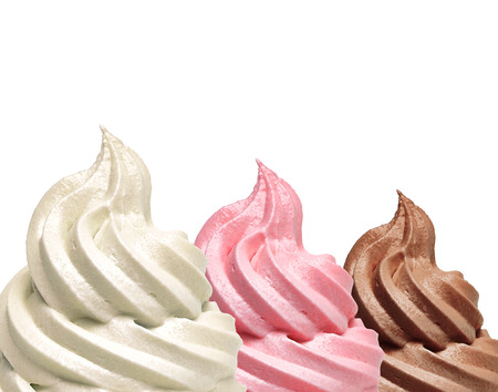Soft vanilla, strawberry and chocolate ice cream detail with copyspace Imagens - 57800008