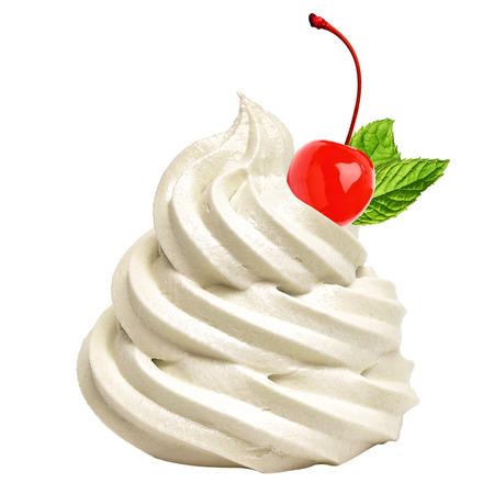 Vanilla cream or frozen yogurt with maraschino cherry and mint isolated on white background Imagens