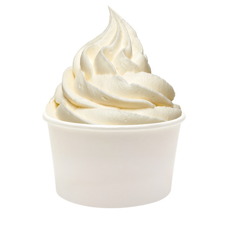 Blank Paper Cup With Vanilla Soft Ice Cream On White Background 版權商用圖片