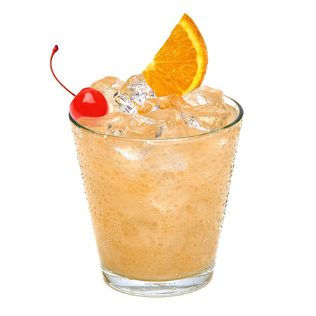 sour cocktail with maraschino cherry and orange slice isolated on white background