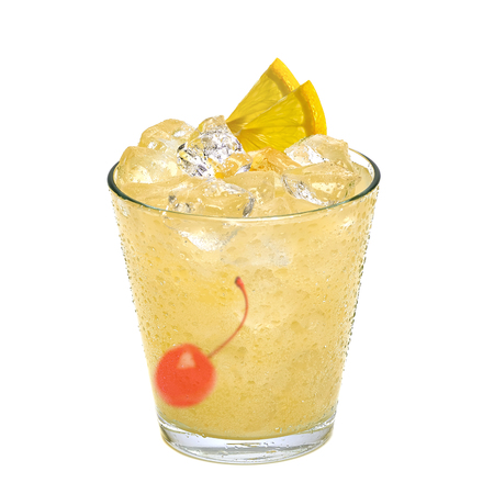 tom collins: sour cocktail with maraschino cherry and lemon slice isolated on white background