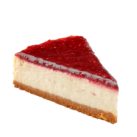 Raspberry cheesecake with plate on white background Stock Photo