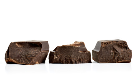Chocolate blocks on white background