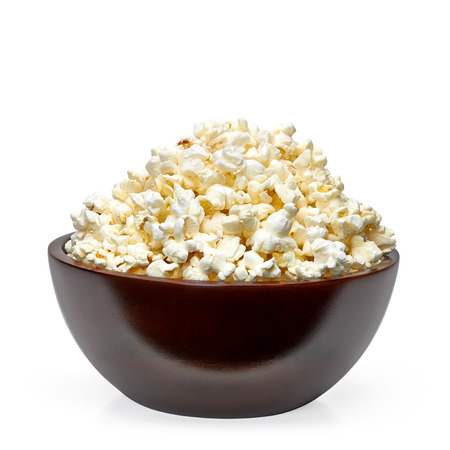 bowl of popcorn: Popcorn in wooden bowl Stock Photo
