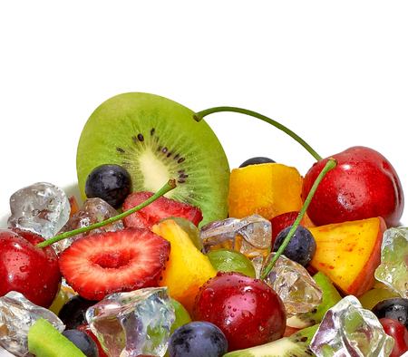 heathy diet: Fruit salad in takeaway cup on white background Stock Photo