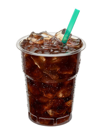 Iced coffee in takeaway cup. Stock Photo