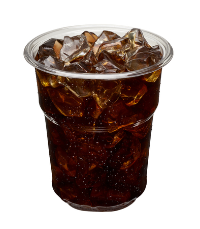 crushed ice: Iced coffee in takeaway cup. Stock Photo