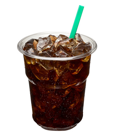 americano: Iced coffee in takeaway cup. Stock Photo