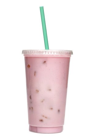 cup: Strawberry milkshake in take away cup isolated on white background