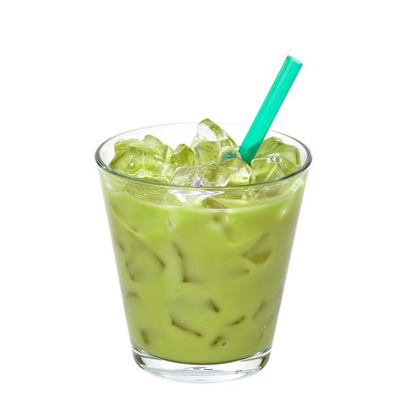 Iced green tea latte in glass isolated on white background