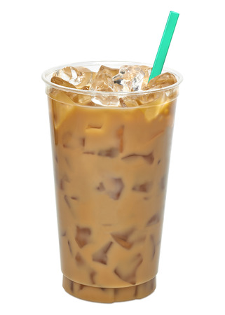 Iced coffee or takeaway cup of coffee latte