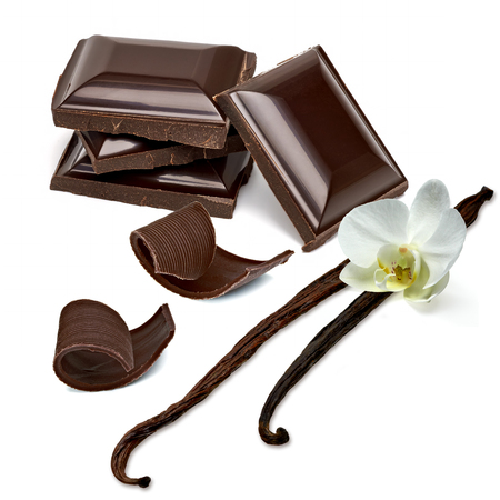 excelsior: Chocolate tablets with curls on a white background