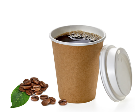 Blank take away coffee cup with beans and leaf on a white background