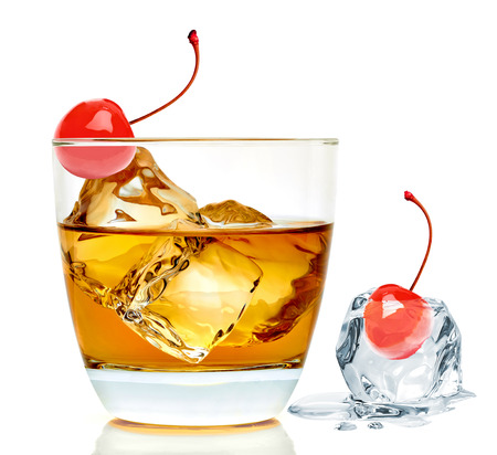 Manhattan cocktail isolated on white background