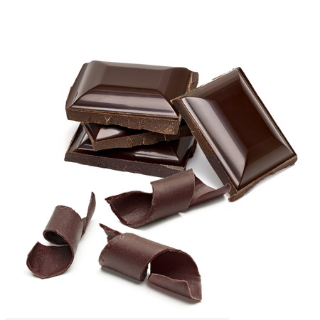 excelsior: Chocolate tablets stack and curls on a white background Stock Photo