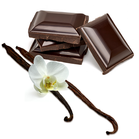 excelsior: Chocolate tablets stack, vanilla pods and curls on a white background