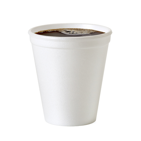 Polystyrene foam coffee cup on white background