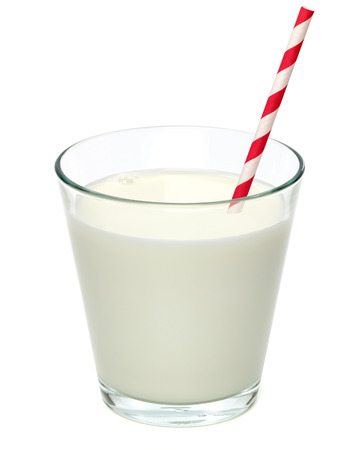 pasteurized: Fresh milk in the glass isolated on white background