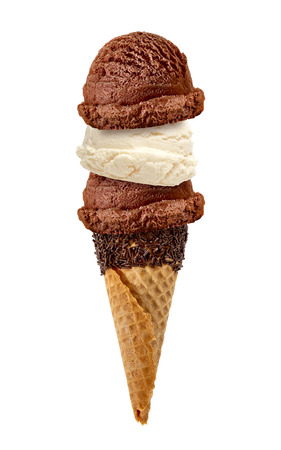 Scoops of Vanilla and Chocolate ice cream cone with sprinkles on a white background