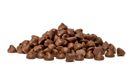 morsels: Chocolate morsels pile on white background Stock Photo