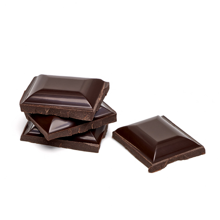 flaked: Chocolate tablets stack on white background Stock Photo