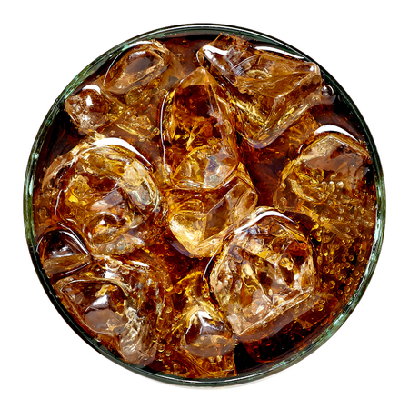 Cola with crushed ice from top on white background Stock Photo