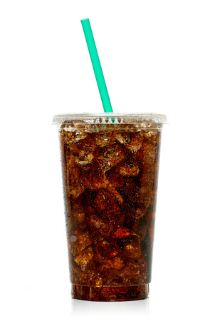 Cola with ice in takeaway cup isolated on white background