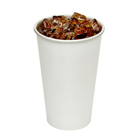 glass paper: Blank take away cola cup with ice on white background including clipping path Stock Photo