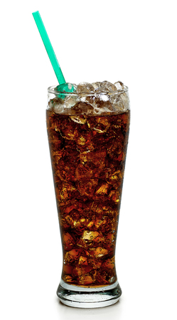 Cola with ice in tall glass on white background
