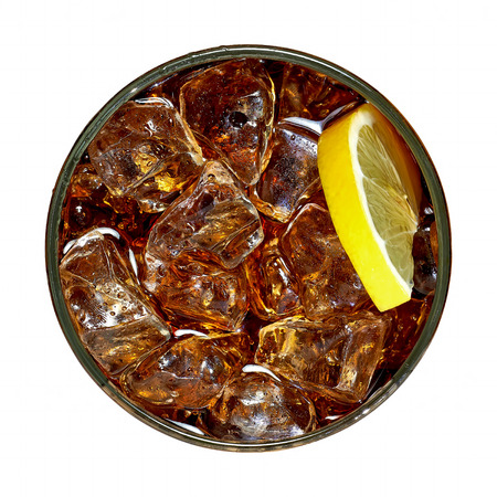 Cola with crushed ice and lemon on white background