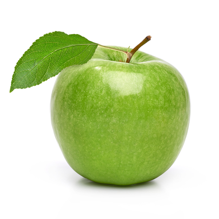 Green apple with leaf on a white background Stock Photo