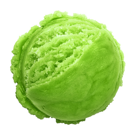 glace: Green scoop ice cream from top on white background Stock Photo