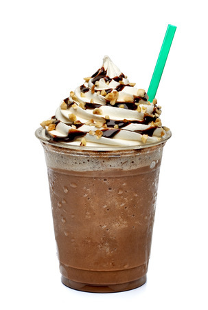 Frappuccino in take away cup isolated on white background