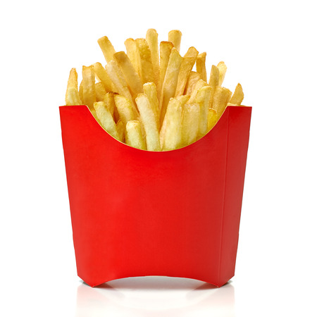 frites: Fry French fries in red box on white background