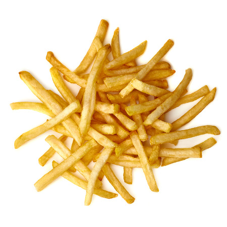 French fries battery from balls on white background
