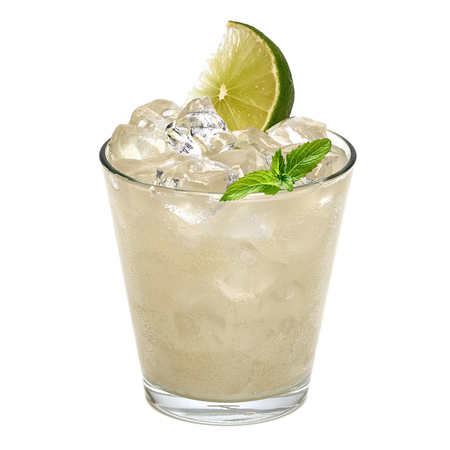 Gin fizz or vodka with lemon wedges and crushed ice in rocks glass on white background
