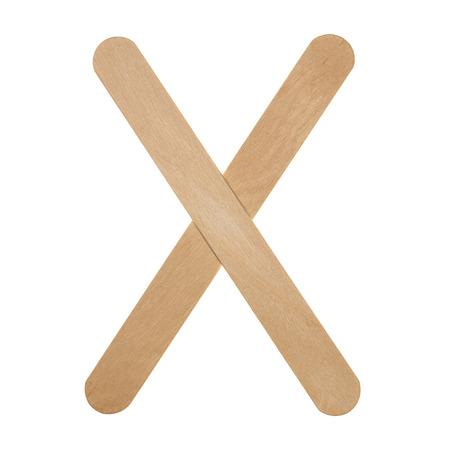 Wooden ice cream sticks isolated on white background