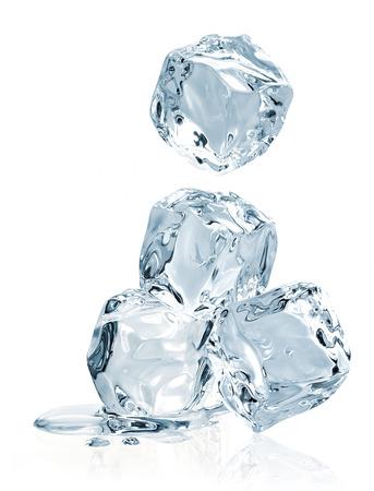 Falling ice cubes on white background