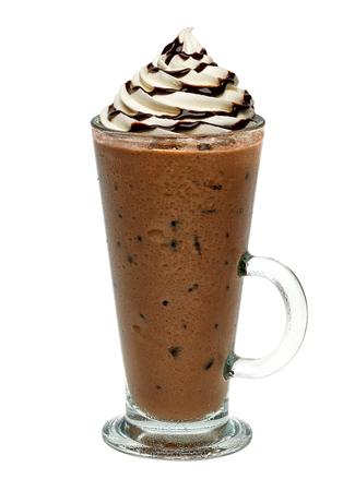 Iced coffee with chocolate sauce vanilla cream on white background