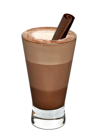 Layered latte with chocolate curls on a white background Stock Photo