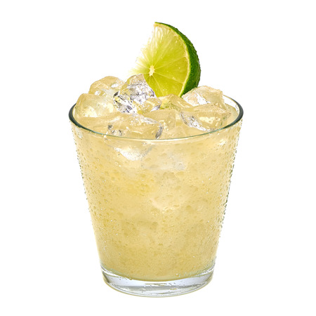 Lemonade with ice in glass on white background