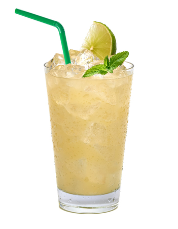 Lemonade with lemon slice and ice in glass on white background