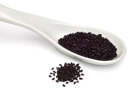 black seed: Black seed, Nigella sativa seeds on a white background