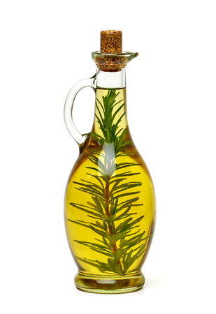 Twigs: Olive oil with rosemary on white background